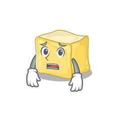 A picture creamy butter showing afraid look vector
