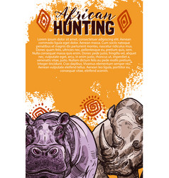 African safari hunting banner with wild animal vector