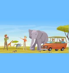 African safari travel adventure man woman vector