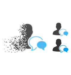 Broken dotted halftone forum moderator icon vector