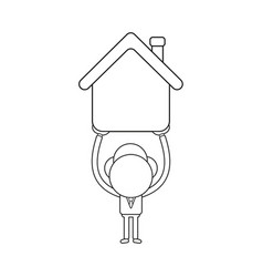 Businessman character holding up house black vector