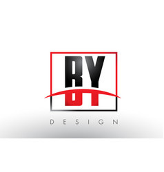 By b y logo letters with red and black colors and vector