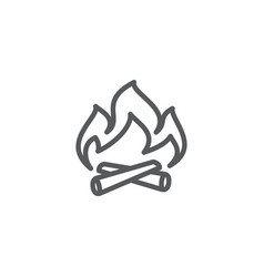 campfire line icon on white background vector image