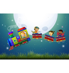 Children and train vector image