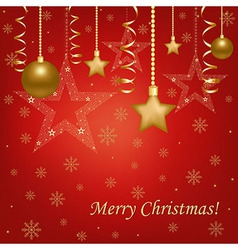 Christmas Red Card With Christmas Balls And Stars vector