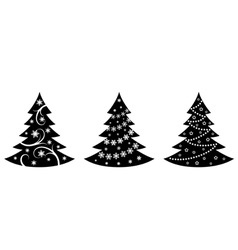 christmas trees illustration in vector vector image