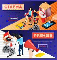 Cinema premiere banners set vector