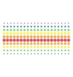 cog shape halftone spectrum pattern vector image