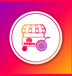 Color fast street food cart with awning line icon vector
