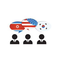 communication north south korea and us america vector image