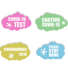 Coronavirus icon covid 19 test please stay home vector