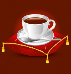 cup on satin pillow vector image