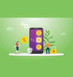 currency exchange money concept with mobile vector image