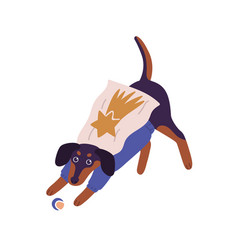 Cute dog wearing superhero costume playing with vector
