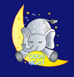 cute elephant and good night words vector image