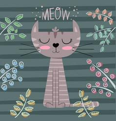 cute princess cat cartoon vector image