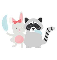 Cute raccoon and rabbit with arrow bohemian style vector