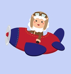 Cute Sheep Aviator vector image