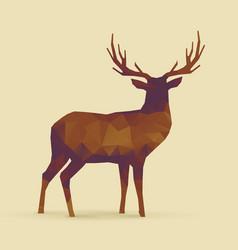 Deer polygon orange purple silhouette vector