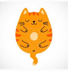 Doodle sleeping red cat vector