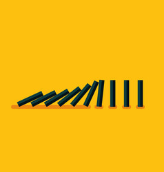 falling black dominoes on yellow background vector image