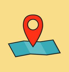 Flat colored location icon vector