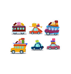flat set colorful cars buses and vans vector image
