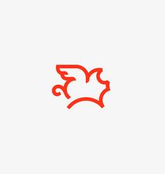 Flying pig line logotype creative pork vector