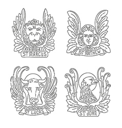 Four evangelists line symbols vector