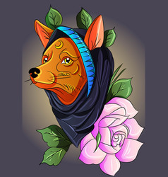 fox with hoodie vector image