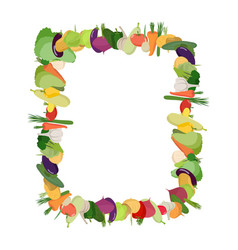 frame of vegetables background is harvest farmers vector image