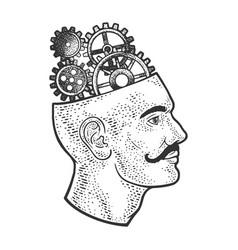 gears in head line art sketch vector image