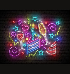 Glow signboard with piece cake champagne vector