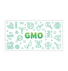 Gmo concept green banner in thin line style vector