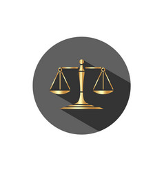 golden scales of justice icon with shadow on a vector image