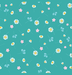 Green daisies ditsy seamless pattern vector