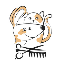 Grooming dogs and cats silhouettes vector