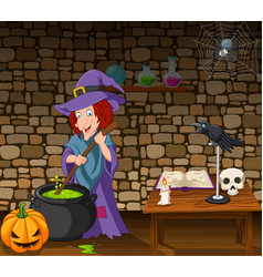 halloween background with witch stirring magic vector image