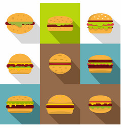 Hamburger icons set flat style vector