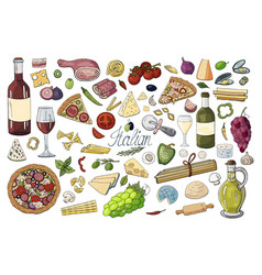 hand drawn pattern with italian food - past vector image