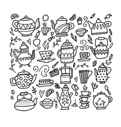 hand drawn teapot and cup collection doodle tea vector image