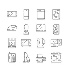 Home appliances icon electrical household items vector