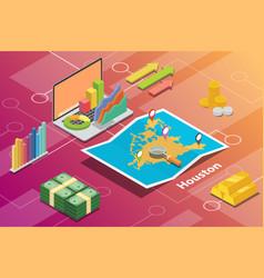 houston usa city isometric financial economy vector image