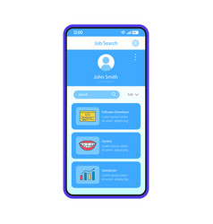 Job search app interface template vector