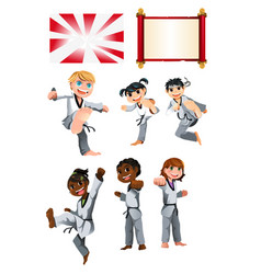 Karate taekwondo kids vector