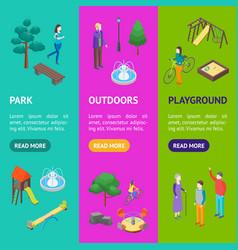 kid playground elements 3d banner vecrtical set vector image