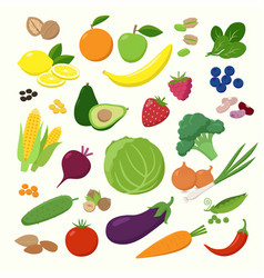 Large set of fruits vegetables and berries in vector