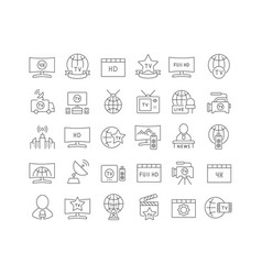 Line icons world tv day vector