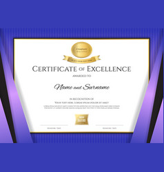 Luxury certificate template with elegant violet vector