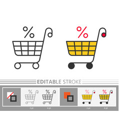 market trolley percent clearance sale linear icon vector image